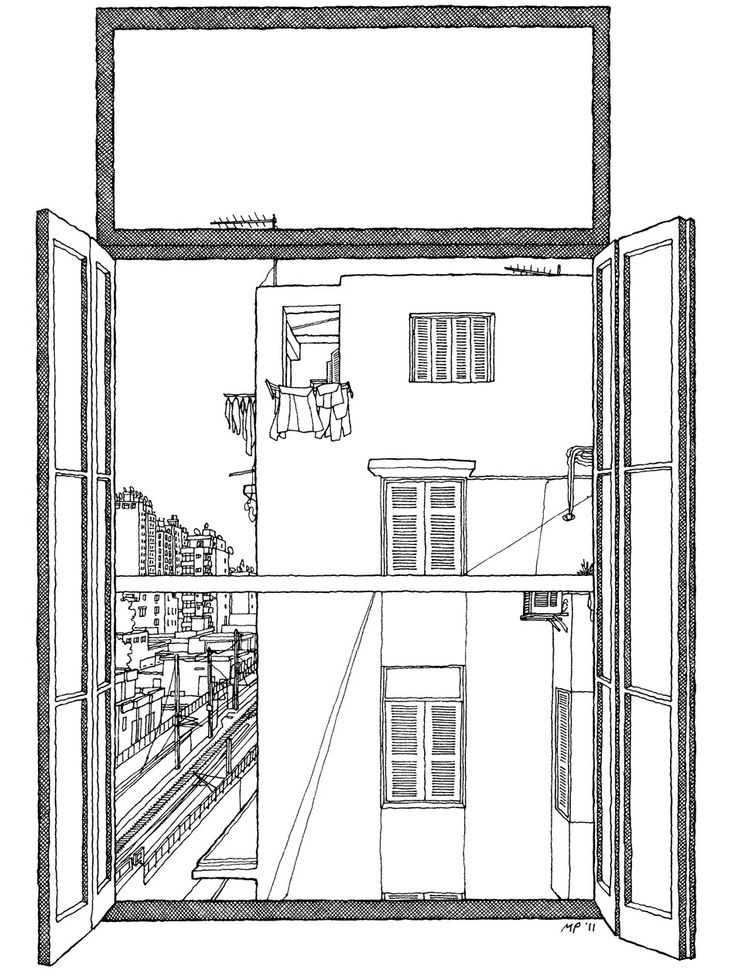 I open my window and this is the house, in the depths of central Cairo, that looks back at me. (Window of  Alaa Al Aswany by Matteo Pericoli)