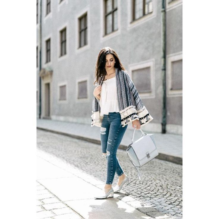 ripped jeans, white off shoulder top & boho jacket by Merna Mariella