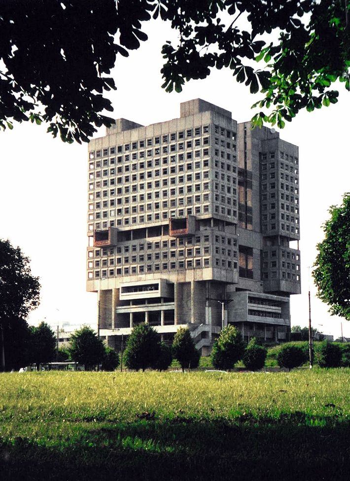 """The 21-storey building is often called """"a buried robot"""", because it really resembles a robot's head."""