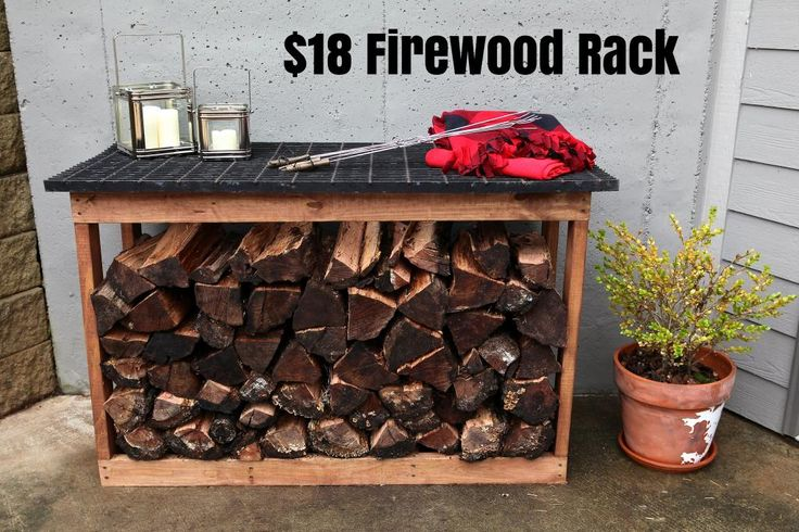 firewood rack | Bower Power  I love the outdoor counter space this provide while keeping the wood neat and organized.
