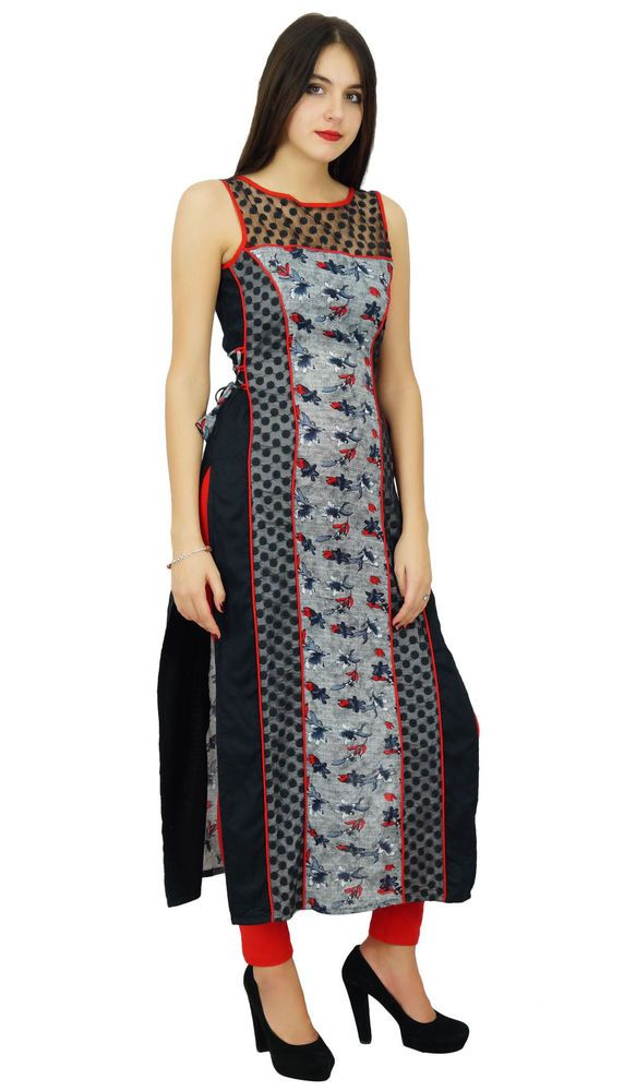 Bimba Women Long Straight Kurta Kurti Designer Indian Dress Ethnic Ladies Custom #Bimba #Casual