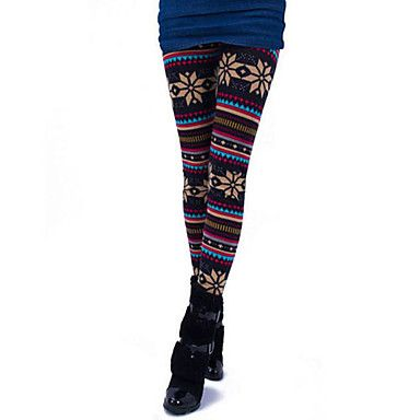 [CyberMondaySale]kvinders snowflake mønster stribe legging (talje: 60-90 længde: 86cm) – DKK kr. 32