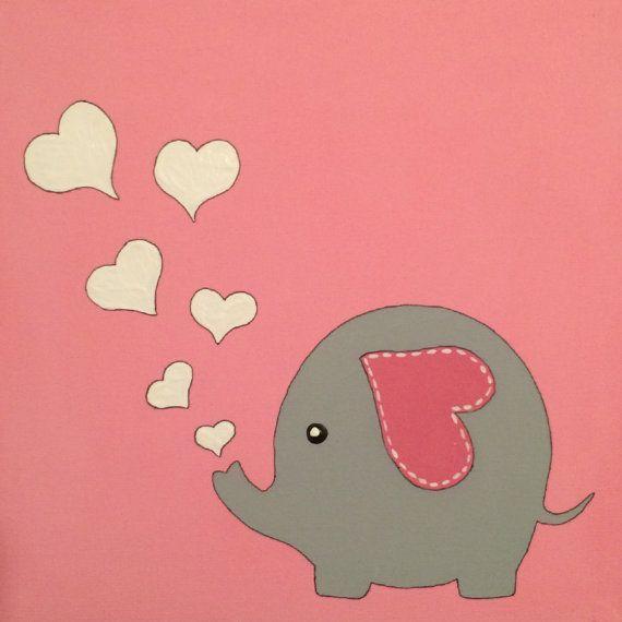 Colorful, Fun, Acrylic, Handmade, Painting, Nursery, Elephant, Love,Heart,  Baby, PINK, Creative, Kids, Kid Room, Cute, Canvas, Art, Giraffe