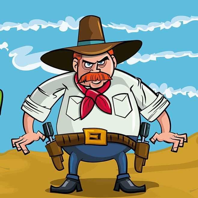 Fat cartoon cowboy #Image #Art #Cowboy | Kozzi Images | Royalty Free Stock Images for just $1