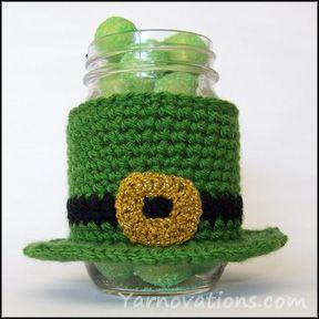 St Patricks crochet Patterns | St. Patricks day jar cozy FREE Pattern | Crochet