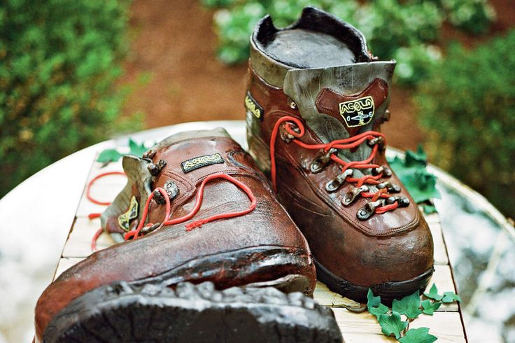 Groom's Cake - Garden-Inspired Wedding - Southernliving. Clark's groom's cake took the realistic form of a pair of hiking boots—reminiscent of his time in New Zealand.    Love It? Get It!Groom's cake: The French Confection