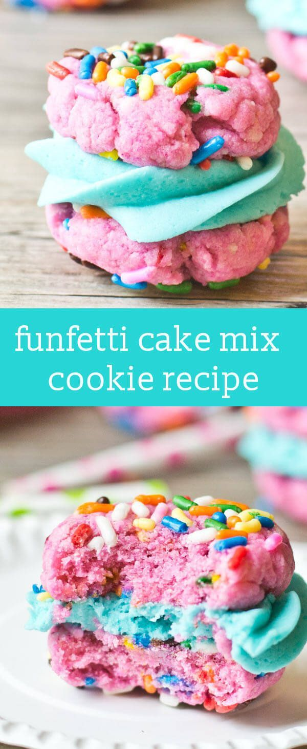 Funfetti Cake Mix Sandwich Cookies are simply made with a boxed cake mix, then filled with buttercream frosting. Perfect for birthdays, parties and celebrations! via @tastesoflizzyt