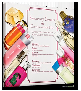 Fragrance Sampler & Certificate for Her - With the His & Hers fragrance sampler you can:                                                       Sample 10 fabulous fragrances.    Select the scent you like best                                      Submit your scent certificate for a full-size bottle of your favourite one
