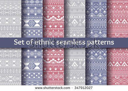 Set of six ethnic seamless patterns. Aztec geometric backgrounds. Stylish tribal design. Modern handmade abstract wallpaper. Vector illustration.
