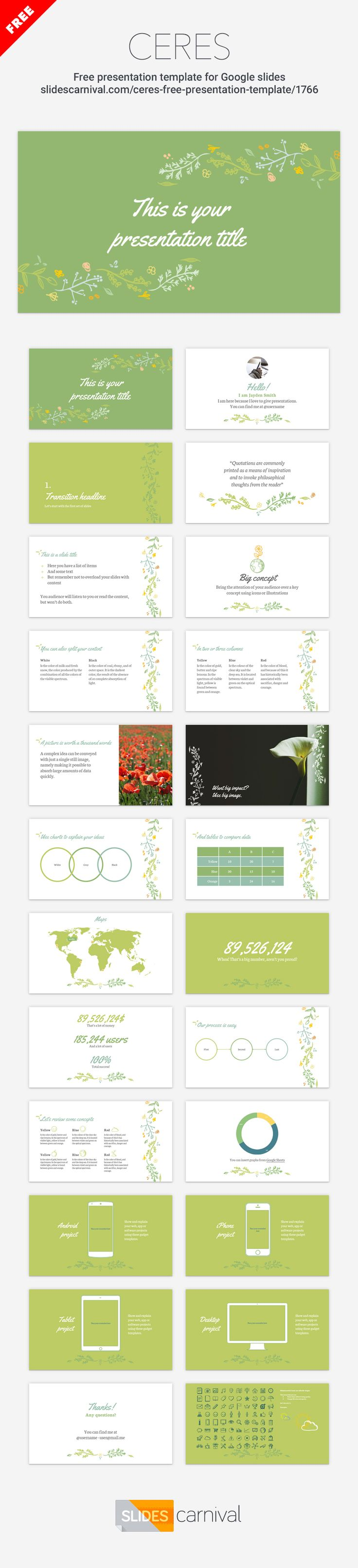 This template has a beautiful hand drawn floral and leaves decoration. The theme is designed with a green color palette that resembles nature, so use it to give a presentation about wild flora, gardening, botanics or organic cosmetics.