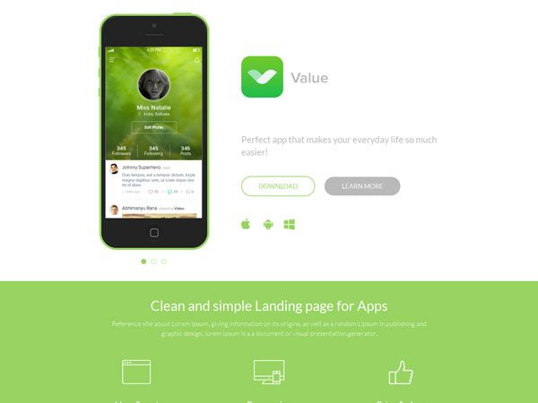 Value Landing Page Template