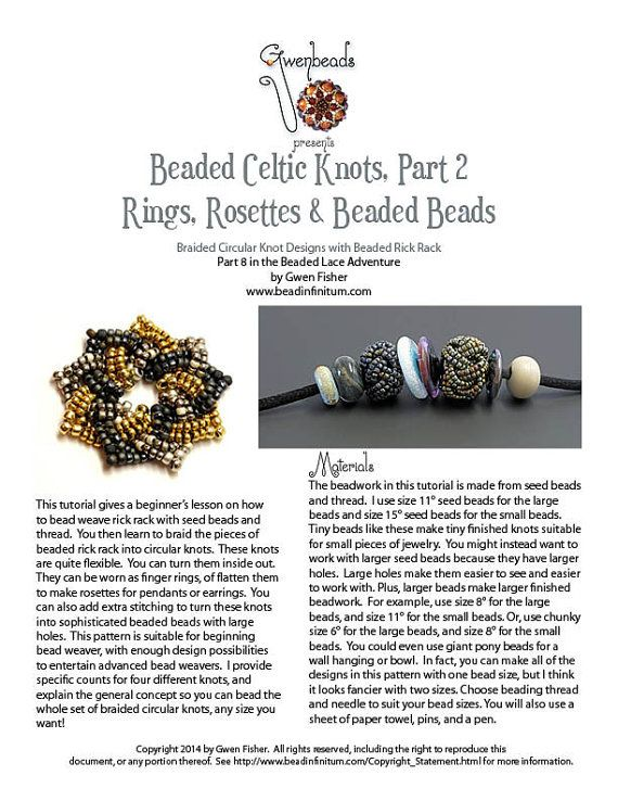 TUTORIAL Beaded Celtic Knots Part 2 Rings Rosettes & by gwenbeads