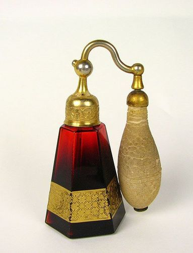 DeVilbiss Art Glass Ruby and Gold Perfume Bottle Atomizer