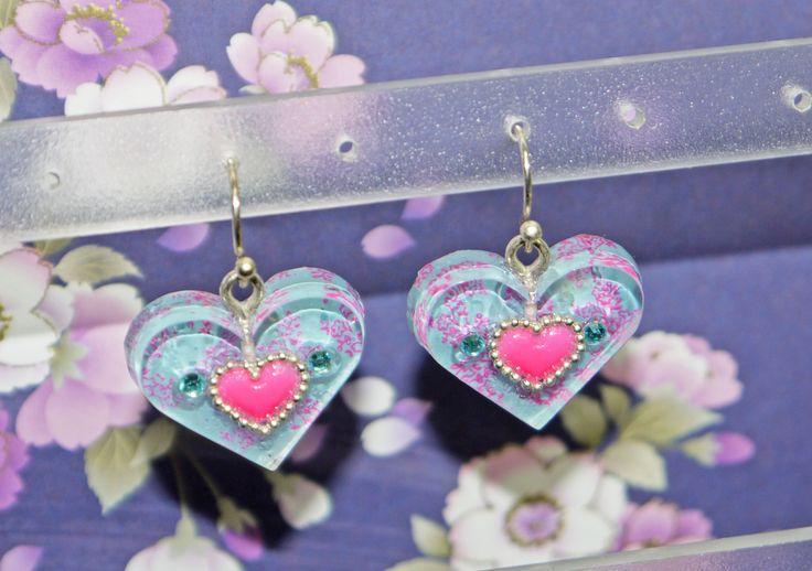 boucles d'oreille, Nail Art, cœur