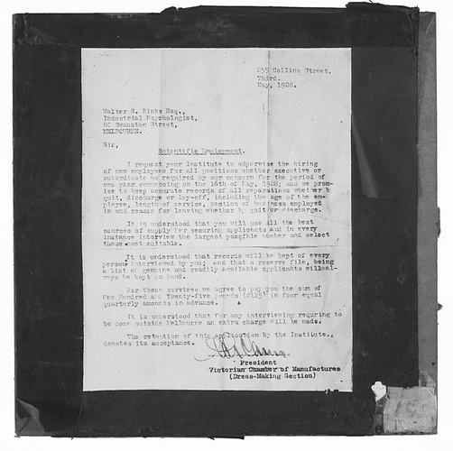 Lantern Slide - Universal Opportunity League, 'Scientific Employment' Letter