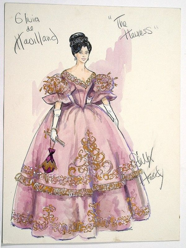 "Edith Head costume design for Olivia Dehavilland in ""The Heiress"".  Olivia won best actress that year for her portrayal of Catherine Sloper a painfully shy girl whose emotionally detached father doesn't hold back his disappointment in her."