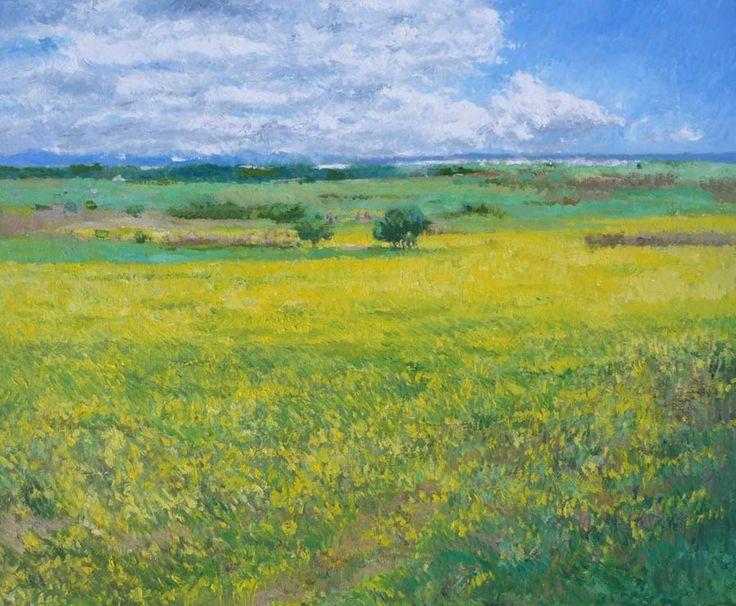 Cuadro al oleo de estilo impresionista de un paisaje de flores amarillas con la línea del horizonte muy alta | Rubén de Luis Rubio