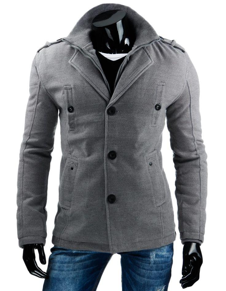 Krátký šedý kabát na zimu