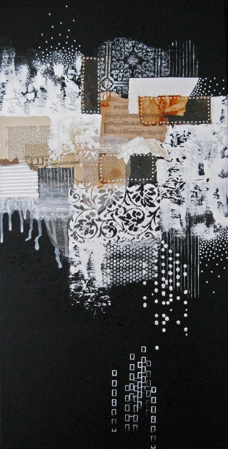ask seek knock by Anca Gray - mixed media collage #black Would like to try this using shades of one or two colors.