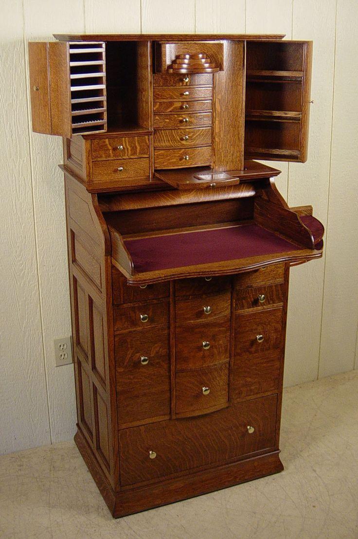 Deluxe Model Antique Oak Ransom & Randolph Dental Cabinet with