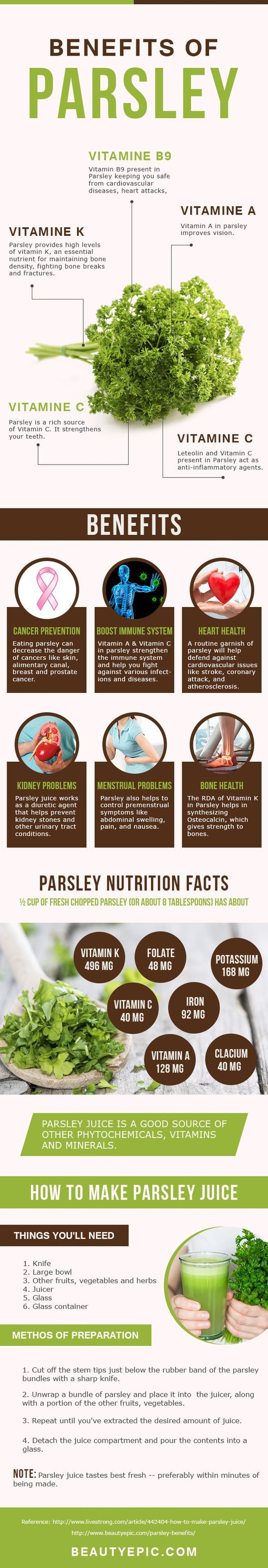 Benefits of Parsley:Parsley is an excellent of vitamin K and vitamin C as well as a good source of vitamin A, folate and iron