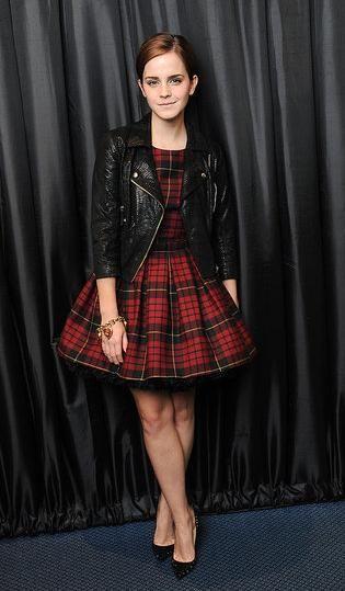 Plaid dress and biker jacket LOve