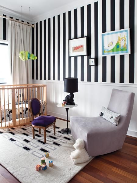 graphic black & white stripe | the wainscoting keeps it from being too overwhelming, especially in a nursery