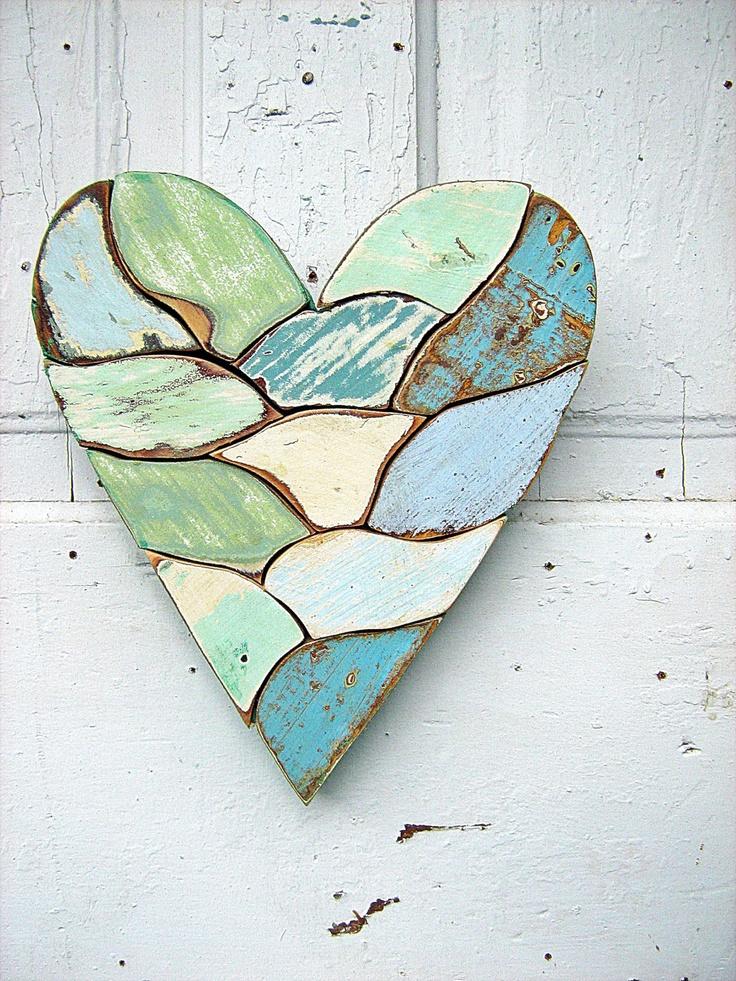 Mosaic Heart Reclaimed Wood Art Blue Mint Green
