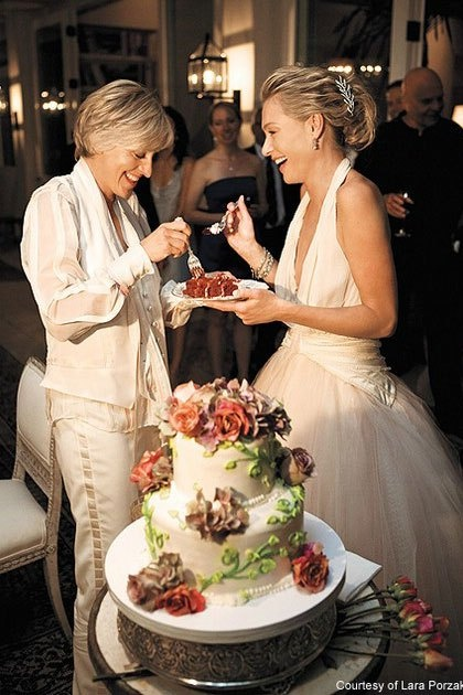 Ellen Degeneres and Portia De Rossi - I imagine Cindy wearing something like Ellen's blouse/vest, but her hair will be much cuter.