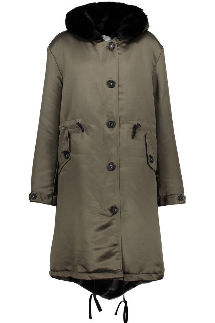 AINEA Faux fur-trimmed satin hooded coat. #ainea #cloth #coat