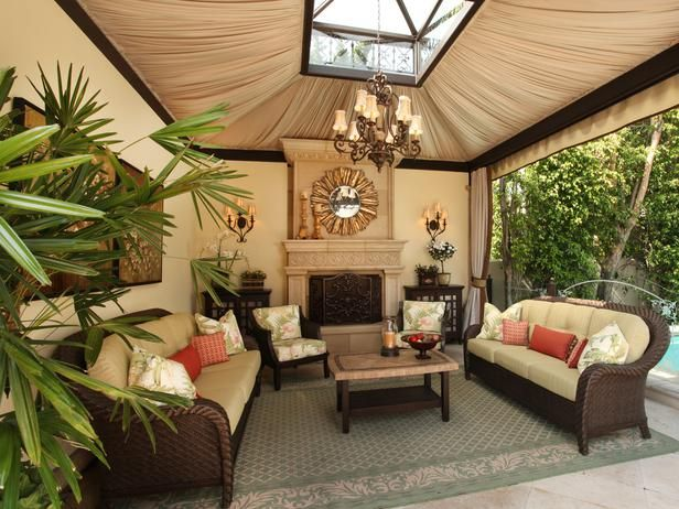 love the outside casita with hanging chandelier