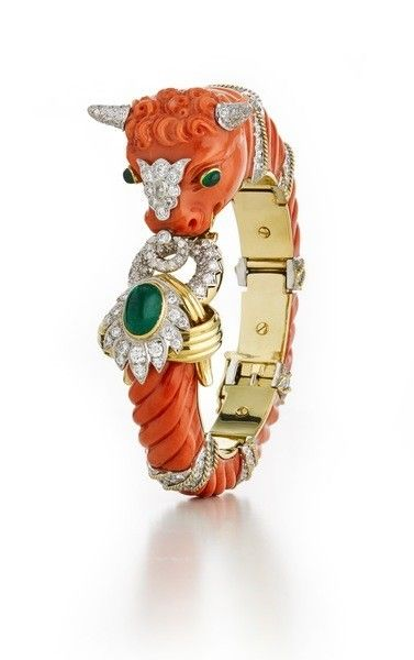 Couture - Bull Bracelet - Carved coral, cabochon emeralds, brilliant-cut diamonds, 18K gold, and platinum