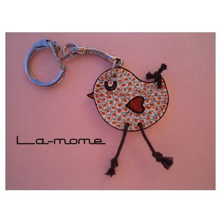 """porte-clés poussin """"Pioupiou"""", fait main, en plastique dingue : Porte clés par la-mome"""