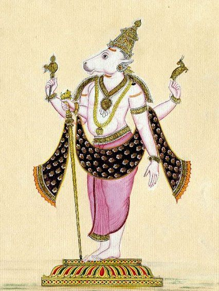 Nandi or Nandin ( Sanskrit: नंदी), is now universally supposed to be the name for the bull which serves as the mount (Sanskrit: Vahana) of the god Shiva and as the gate keeper of Shiva and Parvati, and in Hindu mythology. He is the chief guru of eight masters including Patanjali and Thirumular.[1] Temples venerating Shiva display stone images of a seated Nandi, generally facing the main shrine. There are also a number of temples dedicated solely to Nandi.