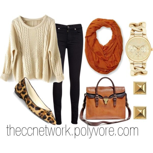 """Over sized Sweater and Cheetah Print Flats"" by theccnetwork on Polyvore"