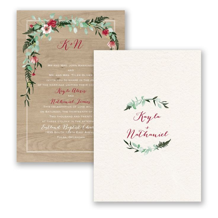 wood and floral rustic wedding invitation floral bliss red wedding invitation by invitations by davids - Davids Bridal Wedding Invitations