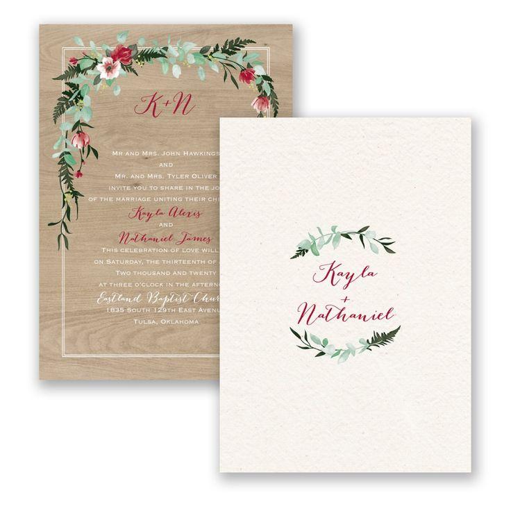 Wood And Floral Rustic Wedding Invitation | Floral Bliss Red Wedding  Invitation By Invitations By Davidu0027s