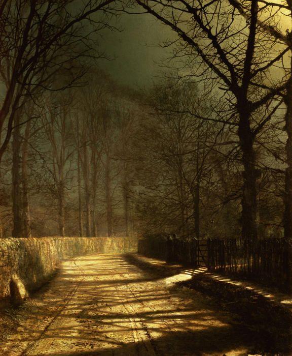 A Moonlit Lane by John Atkinson Grimshaw