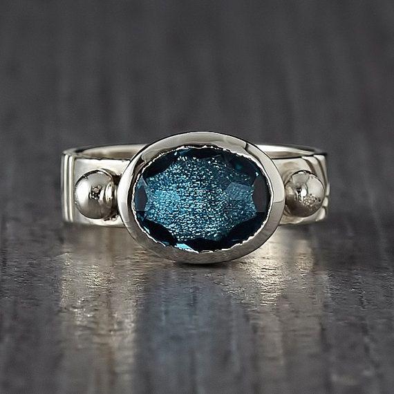 Rose Cut Aquamarine Silver Ring - Engagement Ring
