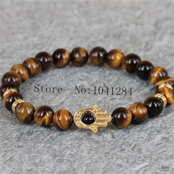 10 PCSNature 8 MM ronda ojo de tigre bolas de piedra y Color mixto , mar Sidiment ágata cuentas de piedra pulsera pulsera de Hamsa oro para hombre(China (Mainland))