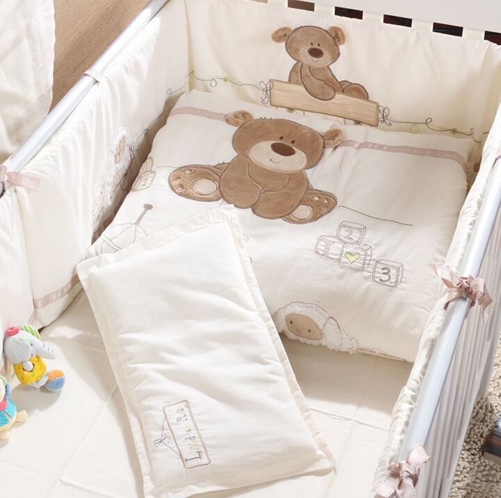 Cheap cot bedding set, Buy Quality baby cot bedding set directly from China baby bedding set Suppliers: Cotton baby cot bedding sets cartoon little bear 2015 baby bedding sets for boy newborn beige crib bumpers bedding babies girls