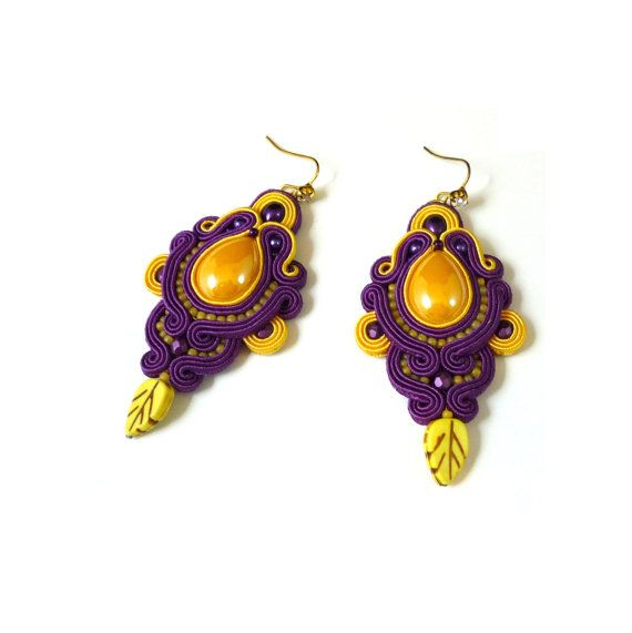 Purple yellow soutache long earrings  Handmade  Kolczyki sutasz purpurowo-żółte