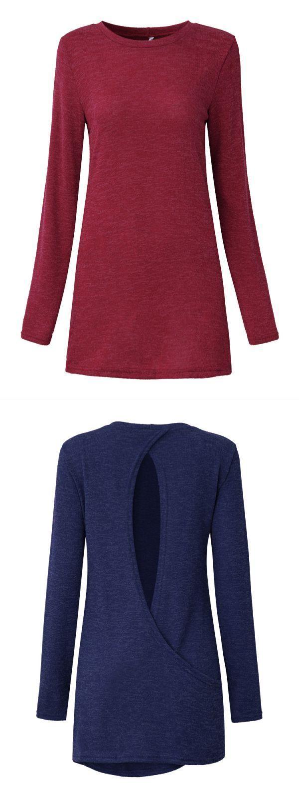 Women long sleeve sexy back hollow pure color t-shirts women#8217;s hello kitty t-shirts #hamp;m #womens #t #shirts #t #shirt #cut #girl #t-shirt #superman #girl #womens #zombie #t-shirts