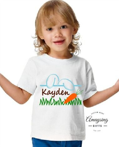 Boys Personalized Easter Bunny Tshirt- AmaysingGifts.com #Easter #EasterTshirt #EasterBoys #Boys #BoysTshirt