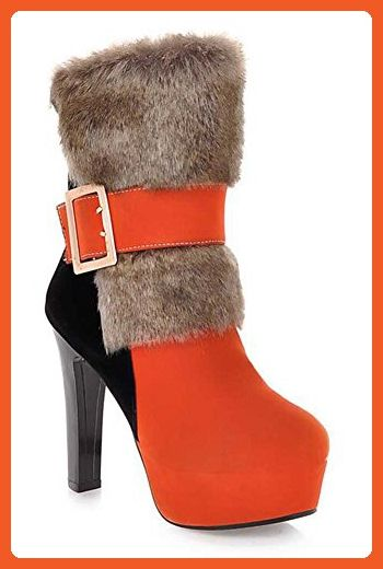CHFSO Women's Sexy Waterproof Faux Fur Lined Buckle Chunky High Heel Platform Warm Ankle Winter Boots Orange 8.5 B(M) US - Boots for women (*Amazon Partner-Link)