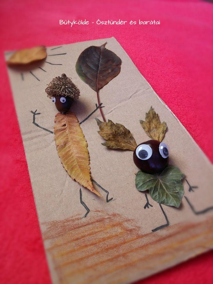 erdei manók termésből - levél, gesztenye, makk...