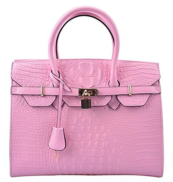 Ainifeel Women's Crocodile Embossed Leather Handbags and Purses