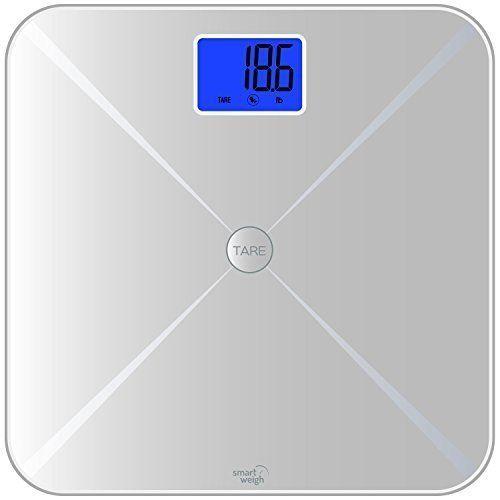 Smart Weigh Pèse-personne numérique pour le corps avec la fonction tare intelligente, un écran LCD et un plateau en verre trempé, capacité…