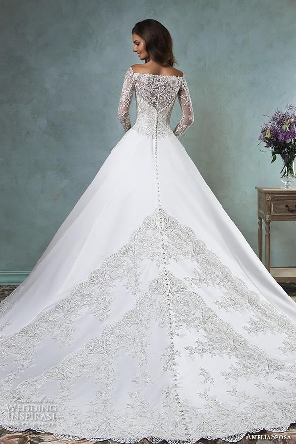 amelia sposa 2016 wedding dresses off the shoulder lace long sleeves embroideried bodice beautiful satin a line ball gown wedding dress canty back view.
