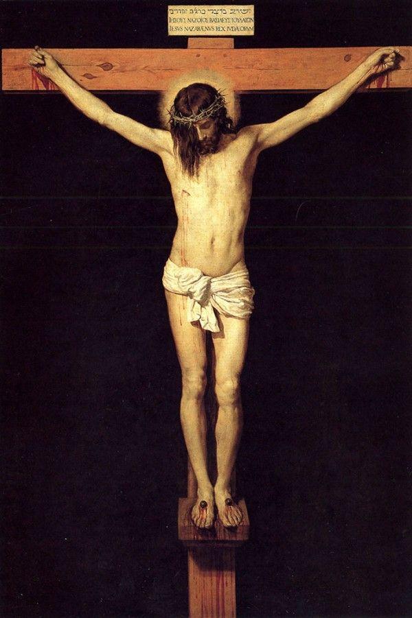 Y la última pieza es Cristo Crucificado fue pintado en 1632 por Diego Velazquez. No se conoce mucho sobre su historia, hasta su fecha está en duda, pero su incorporación de fuertes elementos clásicos y barrocos hace a esta escena automáticamente algo horriblemente violento y hermosamente tranquilo. ~~ Gracias